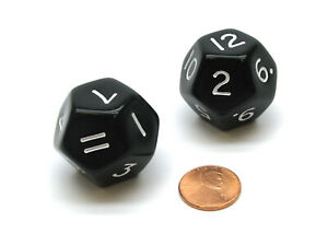 Pack of 2 D12 Opaque 30mm Jumbo Dice - Black with White Numbers