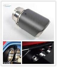 Real Carbon Fiber Exhaust Muffler Tips Pip Single 1pc 101MM for BMW BENZ VW AUDI