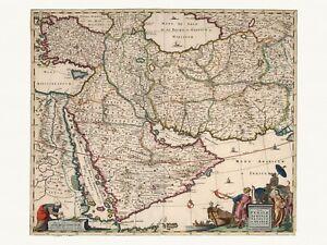 Old Antique Decorative Map of Saudi Arabia Turkey Iran Iraq de Wit ca. 1682