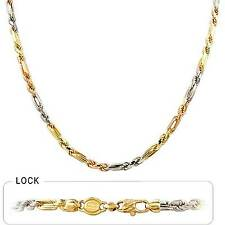 """4 mm 22"""" 34 gm Solid 14k Tri Color Gold Men's Figarope Milano Chain Necklace"""