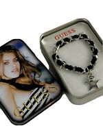 GUESS Women's Silver Tone Bracelet G Crystal Charm Star Black Leather 7in NEW