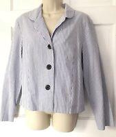 Garnet Hill Seersucker Jacket 14 Womens Blue White Stripe Blazer Cotton 8633 USA