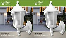 2 x Large Outdoor Coach Lights - White - Wall Mount EX706W