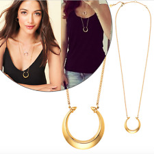 NEW Gold Chain Half Moon Sailor Moon Double Horn Crescent Galaxy Charm Necklace