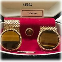 VTG MCM 1960s SWANK TIVOLI Tigereye CUFF LINKS & TIE TAC in Clamshell Box NOS