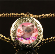 Cat With Pink Rose Cabochon Glass Gold Plating Locket Pendant Necklace