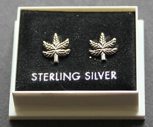Sterling Silver 925 Stud Earrings  CANNABIS LEAF with Butterfly Backs  STUD 03