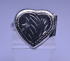 STERLING SILVER ENGRAVED HEART LOCKET RING - TOP OPENS -