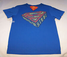 Superman Man Of Steel Mens Blue Printed T Shirt Size S New