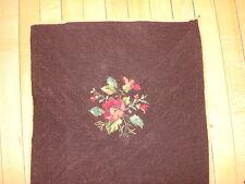 """Vintage WORKED NEEDLEPOINT PIECE Floral on Dark Brown 17""""x17.5"""" #8"""