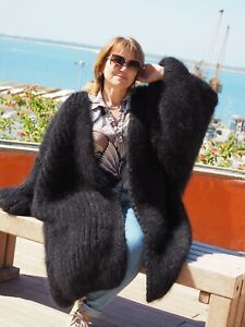 2.4Kg Extra Big Size Black HandKnitted 100% Natural Mohair Coat by LanaKnittings