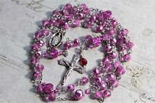 ANTIQUE SILVER, LIGHT PINK ROSE NEW CRYSTALS MIRACULOUS ROSARY & Fr Gift. HANDM.