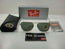 RAY-BAN CARAVAN SUNGLASSES RB3136 001 GOLD FRAME/GREEN CLASSIC LENS 58MM