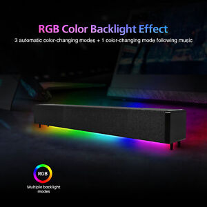 Computer Speakers Dynamic RGB Sound Bar HiFi Stereo Bluetooth 5.0 & 3.5mm Aux-in
