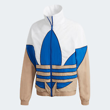 Adidas Originals Mens Big Trefoil Woven Track Top white and blue