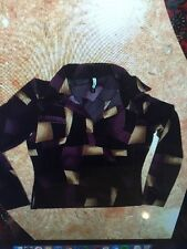 Women's Purple And BEIGE FOREVER 21 COLLARED Top/BLOUSE SIZE L