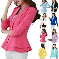 Women's OL Office Lady Long Sleeve Casual Blazer Suit Jacket Ruffle Coat Outwear