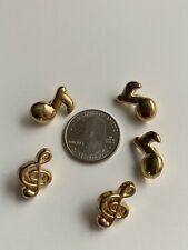Vintage Music Notes Buttons Shank Buttons Set Of 5 Plastic Gold Coated