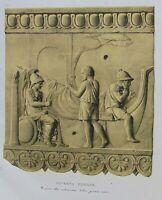 Ancient Rome Terracotta Tile-Plate V-Orig Folio Lithograph Campana Relief 1851