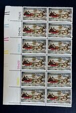 US Stamps, Scott #1551 10c 1974 Christmas Plate Block of 12 Winter Road XF M/NH
