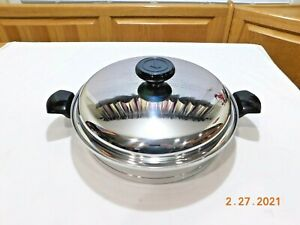 "LIFETIME WEST BEND 12.5"" FAMILIE SKILLET PAN 12 ELEMENT SOLAR CAP T304 STAINLESS"