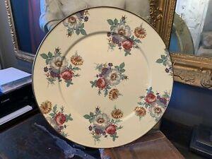 Camp MacKenzie-Childs White Floral Enamel Vintage Charger Platter RETIRED RARE