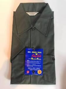 Vintage NOS King Kole Mens Work Shirt Olive Green Free US Shipping (R46)