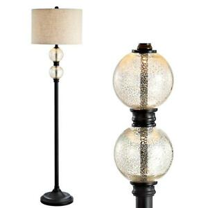 January 60 in. Glass/Metal LED Floor Lamp, Mercury Glass/OR Bronze by JONATHAN Y