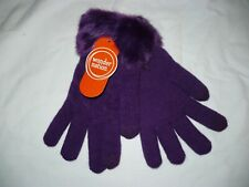 Wonder Nation Girls Faux Fur Lined Gloves Pretty Purple New Super Warm