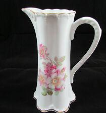 Vintage Gerold Porzellan Bavaria Tall Floral Porcelain Pitcher With Gold Trim