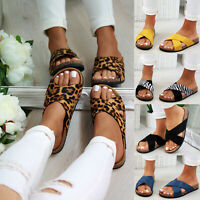 New Womens Slip On Sliders Cross Strap Flatform Sandals Mule Summer Shoes Sizes