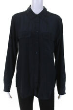 Equipment Femme Womens Long Sleeve Button Down Silk Blouse Top Navy Blue Size L