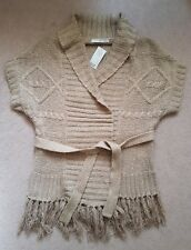 TU KNITTED SLEEVELESS STONE BEIGE CARDIGAN WITH TASSLES AND TIE SMALL 8-10