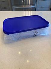 Tupperware Clear Storage  Modular Mates #1 Rectangle Sapphire Blue Seal New 8.5c