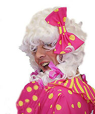 Ugly Sister-Panto Dame-Cendrillon-Widow Twanky Male WHITE & PINK wig with Bow