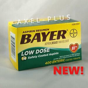 Bayer Low Dose Aspirin Regimen - 400 Tablets 81 mg enteric coated EXP 01/2023