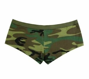 Womens Green BLANK WOODLAND CAMO BOOTY SHORTS Hunting Clothes Rothco 5476 XL
