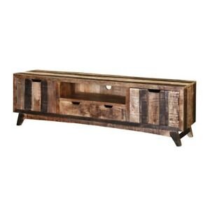 Made to Order Vivid Handcrafted 2-Drawer Rustic Mango Wood TV Stand Media Consol
