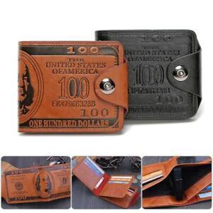 Leather Wallet for Men US Dollar Bill Wallet Credit Card Photo Holder Bifold USA