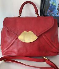 Lulu Guinness Medium Sized Nicola Red Pebbled Leather Shoulder/Handbag