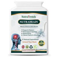Nutrabrain, a  Memory & Brain Enhancer Plus Mental Focus formula 30 veg capsule