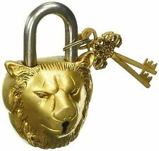 Brass Handicraft Antique Finished Lion King Functioning Door Padlock Lock