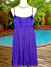 Alice + Olivia Royal Purple Silk Baby-Doll Dress w/Spaghetti-Straps M 8-10 FR40