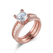 White Cz 925 Sterling Silver Size 9 Wedding Engagement Ring Set Rose Gold Round
