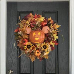 Maple Leaf Door Wreath Pumpkin Mouse Decor For Halloween Or Thanksgiving