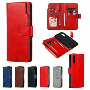 Wallet Leather Flip 9 Card Slots Phone Case For Huawei P30 Samsung Note10 + S10