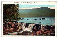 Mid-1900s Outlet of Lake Placid, Adirondacks, NY Postcard