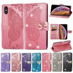 Butterfly Bling Diamond Leather Flip Wallet Stand Case For iPhone 11 Pro Max 8 7