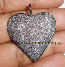 Silver 925 Victorian Heart Design Pendant Estate 2.44ct Antique Rose Cut Diamond