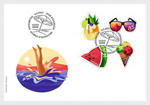 Switzerland 2021 suisse FOOD summer Drink Ice cream Watermelon fruit 4v FDC PJ
